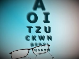 Vision test and glasses graphic